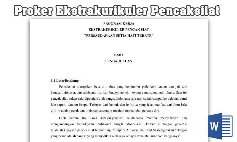 Contoh Program Kerja Ekstrakurikuler Pencaksilat Sd Smp Sma