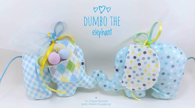 """Dumbo"" το ελεφαντάκι σε γαλάζιες αποχρώσεις με πουά και καρό ντεσέν"