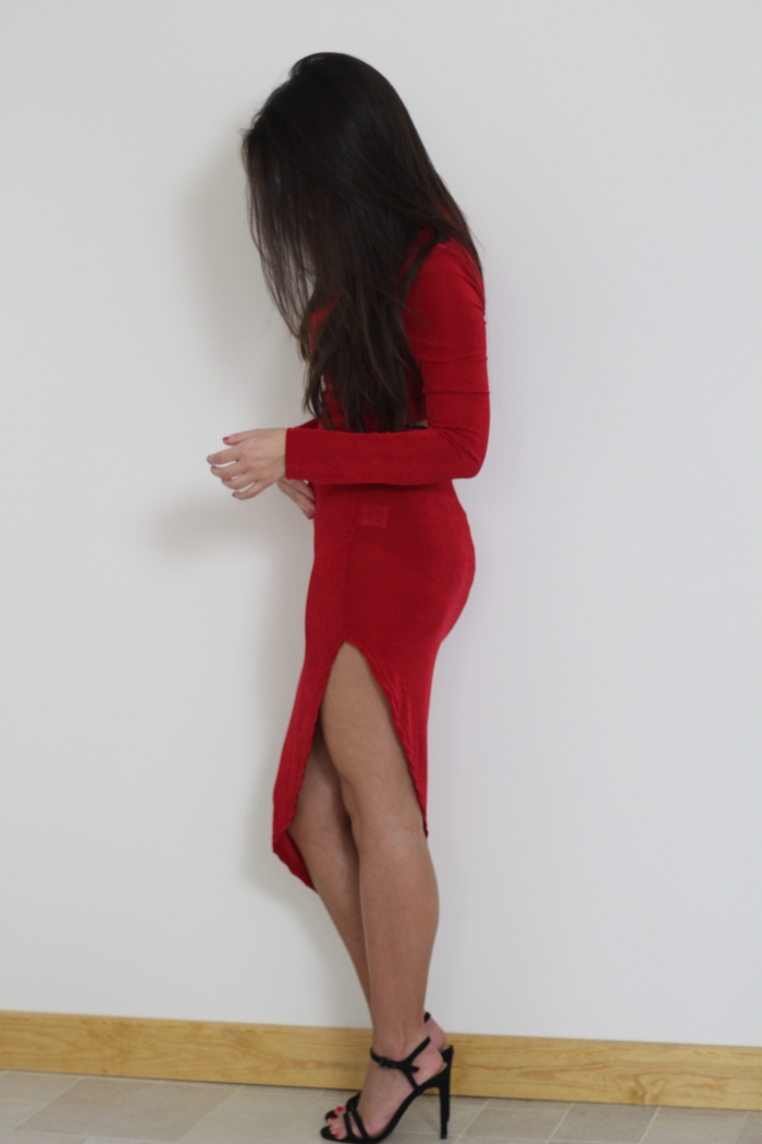 Asos Red Assymetrical Dress Dipped hem style clubbing