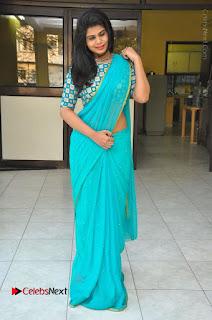 Telugu Actress Alekhya Stills in Green Saree at Swachh Hyderabad Cricket Press Meet  0096.JPG