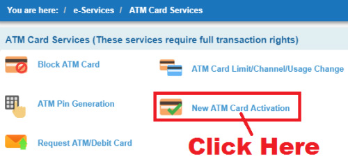 how to activate my new sbi debit card online