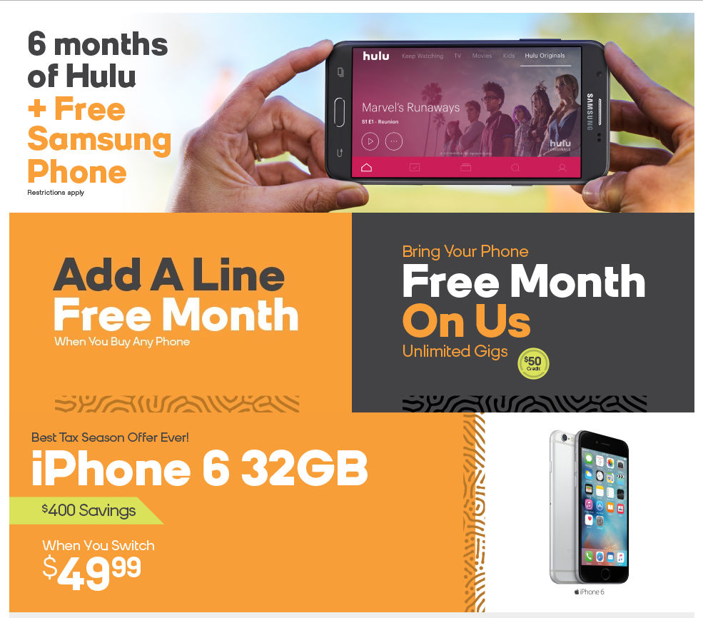 boost launches free hulu promo extends 4 lines for 100 and iphone 6 deals prepaid. Black Bedroom Furniture Sets. Home Design Ideas