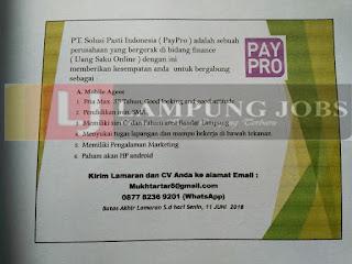 Lowongan Kerja Lampung Juni 2018 di PT. Solusi Pasti Indonesia (PayPro) Terbaru