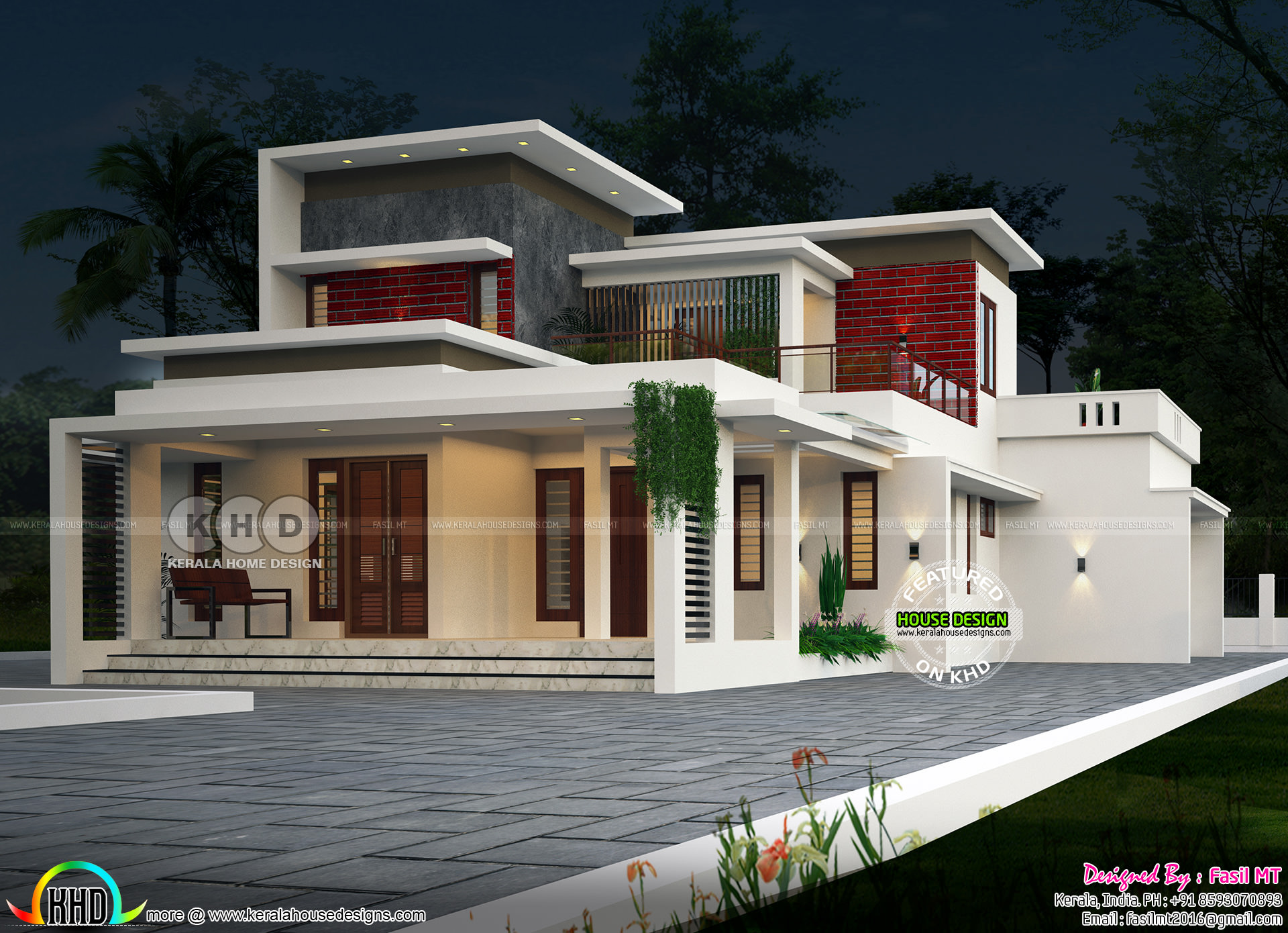 1980 Sq Ft Flat Roof Modern Contemporary 3 Bhk House Kerala Home Design And Floor Plans 8000 Houses