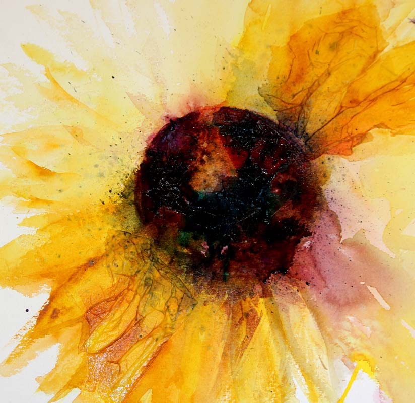 Watercolours With Life Working With Tissue And Watercolour Sunflowers