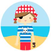 Oblea para tartas Niña pirata