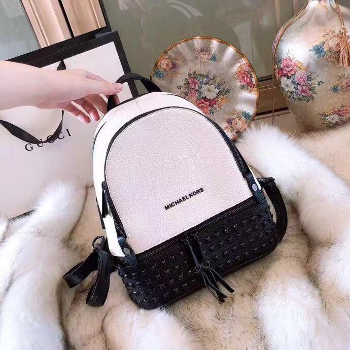 ad068e11a90b WE Do Love Luxury: MICHAEL KORS MK Rhea Medium Studded Leather Backpack