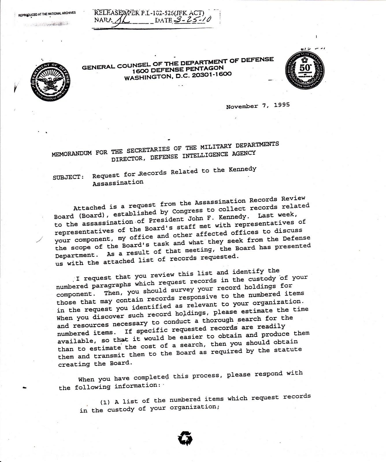dod memo template - jfkcountercoup nov 7 1995 memo for secretaries of the