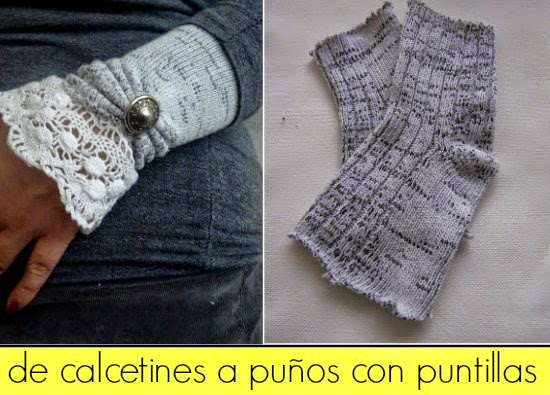 puños, calcetines, victorianos, manguitos, socks warm, transformación, reciclar