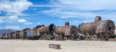 Uyuni, Bolivia has a big train yard where trains go to die.