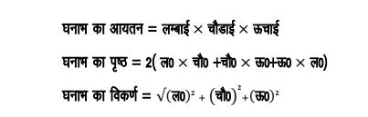 घनाभ तथा घन(Cuboid and Cube)    घनाभ (Cuboid ) : वह बहुफलक जिसका प्रत्येक फलक आयत होता है एवं आसन्न सतह परस्पर लांब होते हैं , घनाभ(Cuboid) कहलाता है , जैसे : ईट , माचिस आदि ।
