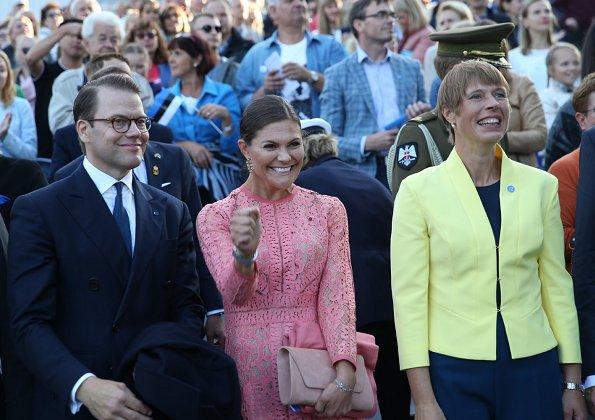Crown Princess Victoria wore ELIE SAAB Guipure Lace Dress. Estonia's President Kersti Kaljulaid and her husband Georgi-Rene Maksimovski