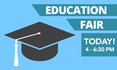 Alt text: Poster with an illustrated image of a graduation cap.  Text in banner: Education Fair Today, 4-6:30 p.m