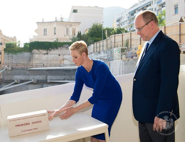 Prince Albert and Princess Charlene at François D'Assise Nicolas Barré Princess Charlene wore Roland Mouret dress