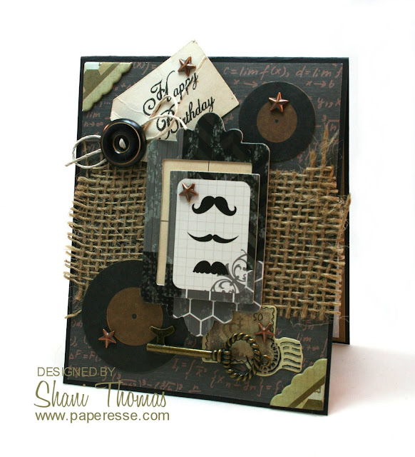 Masculine vintage look birthday card, by Paperesse.