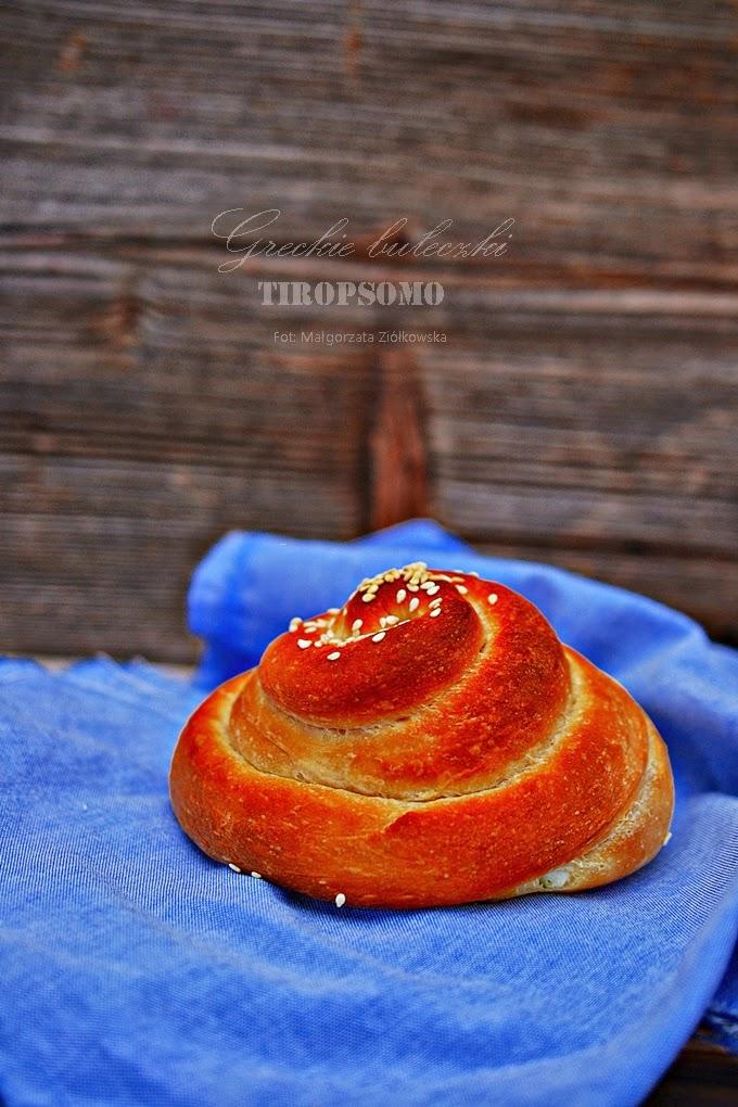 """Z """"Cyklu wypiekanie na sniadanie""""  bułeczki greckie Tiropsomo"""