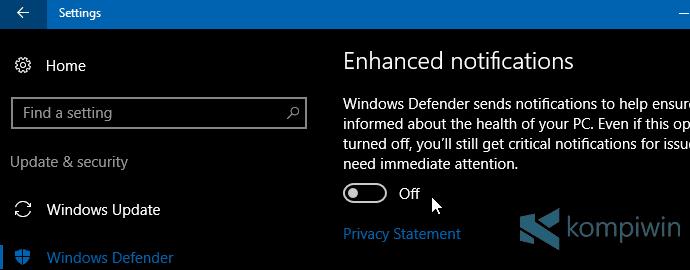 Cara Hilangkan Notifikasi dari Windows Defender 2