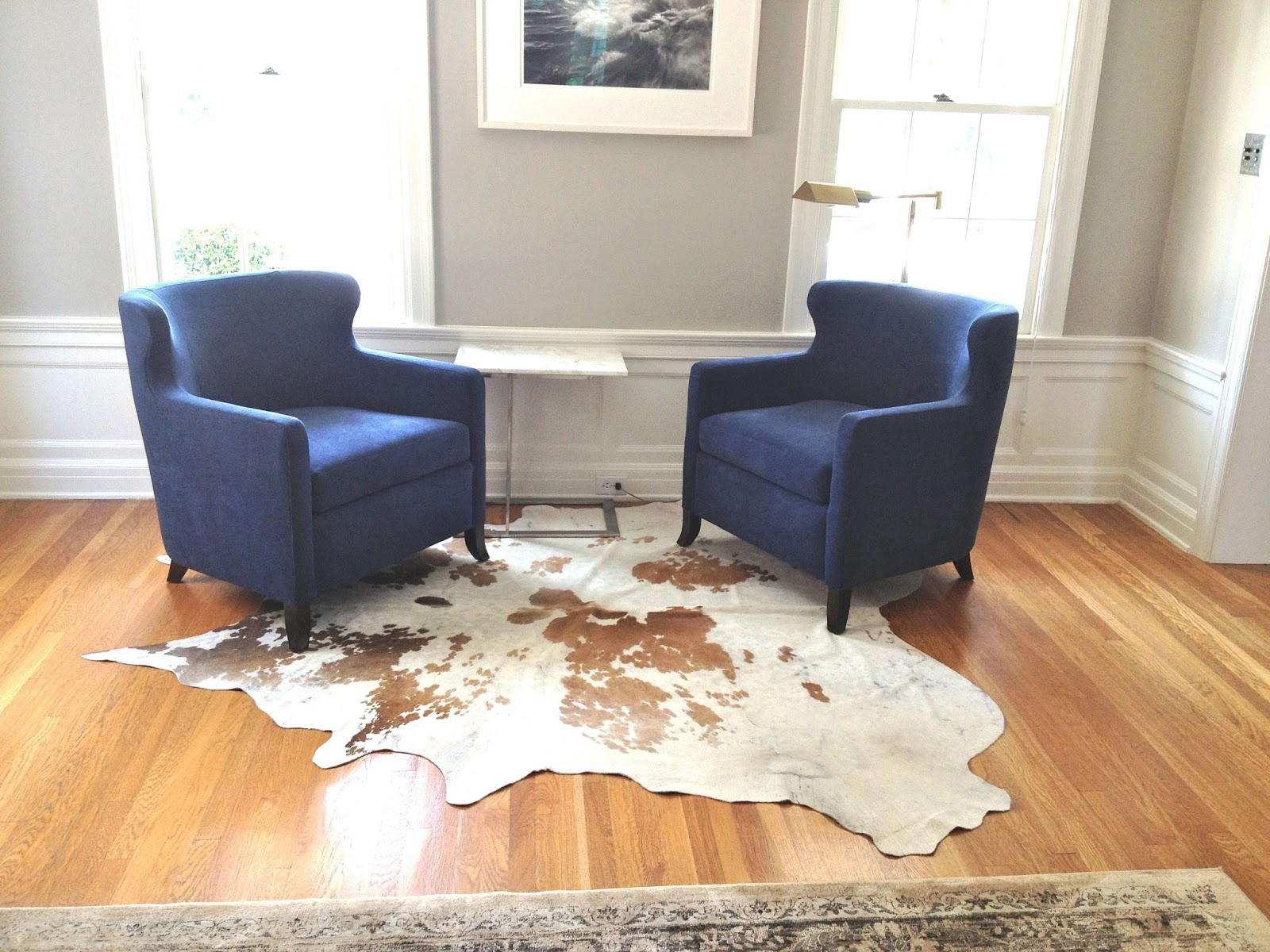 Gray Sofa Navy Chairs Corner Beds London Rosa Beltran Design Pair Of Blue For Sale