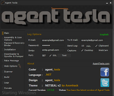 Agent Tesla keylogger  7.2.1