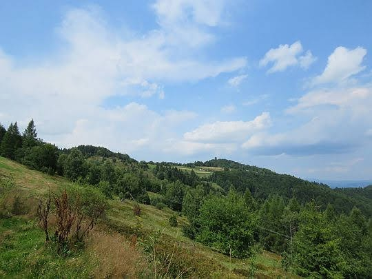Ze stoków Błyszcza - widok na Jaworzynkę (z lewej) i Koziarza (z wieżą).