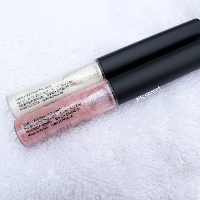 Althea Spotlight Eye Glitter    Comes in #1 Gold Light and #2 Pink Light