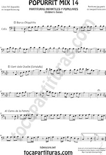 Partitura de Violonchelo Popurrí Mix 14 Chiquitito, El Cant dels Ocells, Al corro de la patata Sheet Music for Cello Music Scores