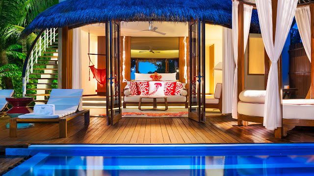 W Maldives, Fesdu Island, Wonderful Beach Oasis Villa, Nacht