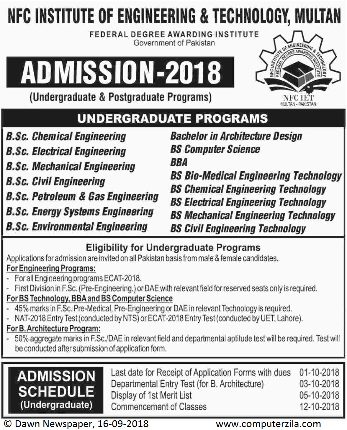 Admissions Open For Fall 2018 At NFCIET Multan Campus