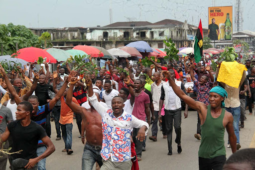 massob stabbed policemen corpses river niger
