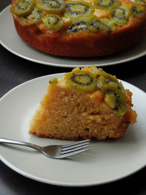 Butterless Wholewheat Kiwi Upside Down Cake
