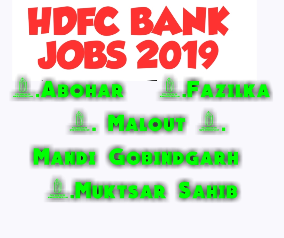Required Freshers For Hdfc Bank In Punjab Locations 1114