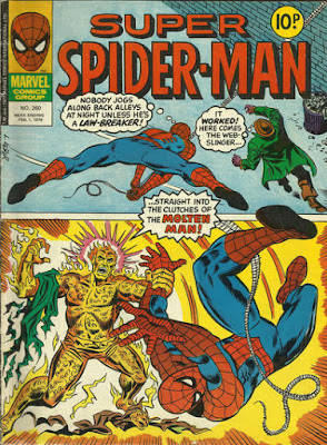 Super Spider-Man #280, spider-man swings down at a mysterious man in a back street who then turns out to be the Molten Man and grabs him by the ankle as he tears his own coat off