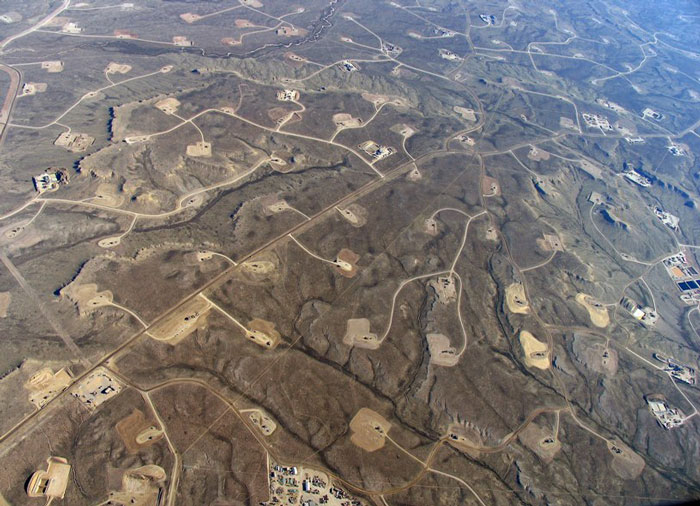Pozos de fracking en Wyoming