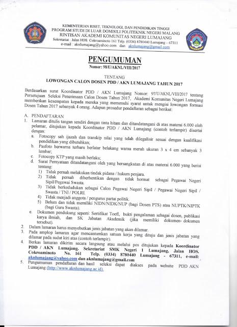 lowongan dosen, AKN, akademi komunitas negeri, lumajang, agustus 2017