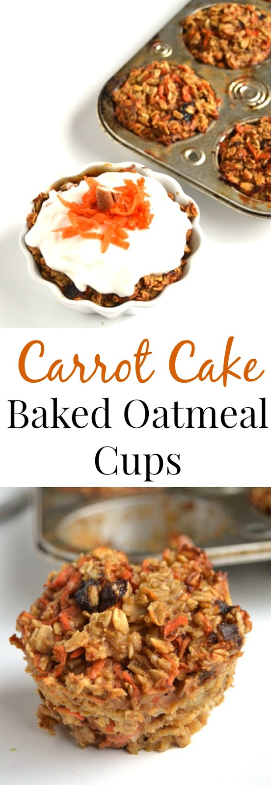 If you are a carrot cake lover, try these Carrot Cake Baked Oatmeal Cups with healthy cream cheese frosting for a healthy and satisfying breakfast! www.nutritionistreviews.com