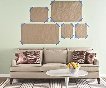 hang picture grouping using kraft paper