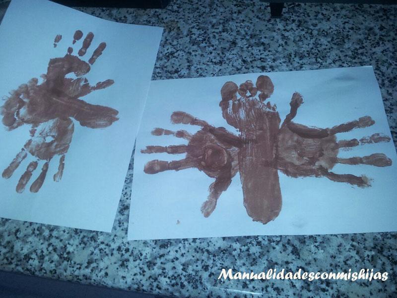 Murciélago - Halloween - Huellas de la mano-pie y témperas