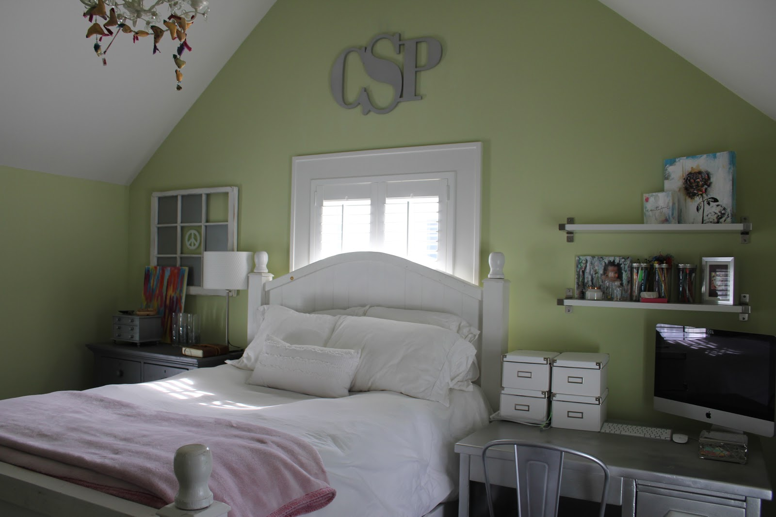 Modern farmhouse bedroom with apple green walls on Hello Lovely Studio