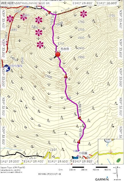Mt. Hayachine The map of the climb