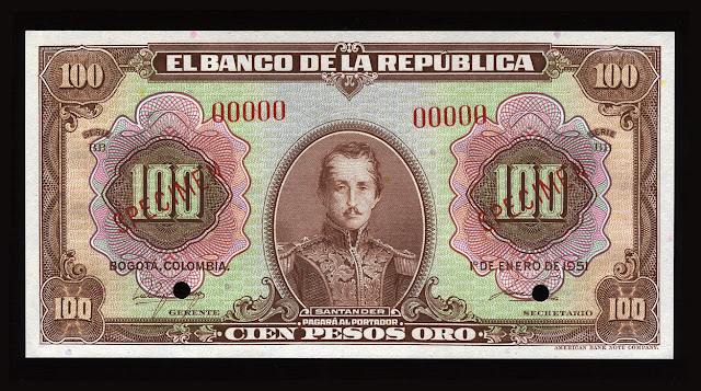 Colombia banknotes 100 Colombian Pesos oro money currency banknote