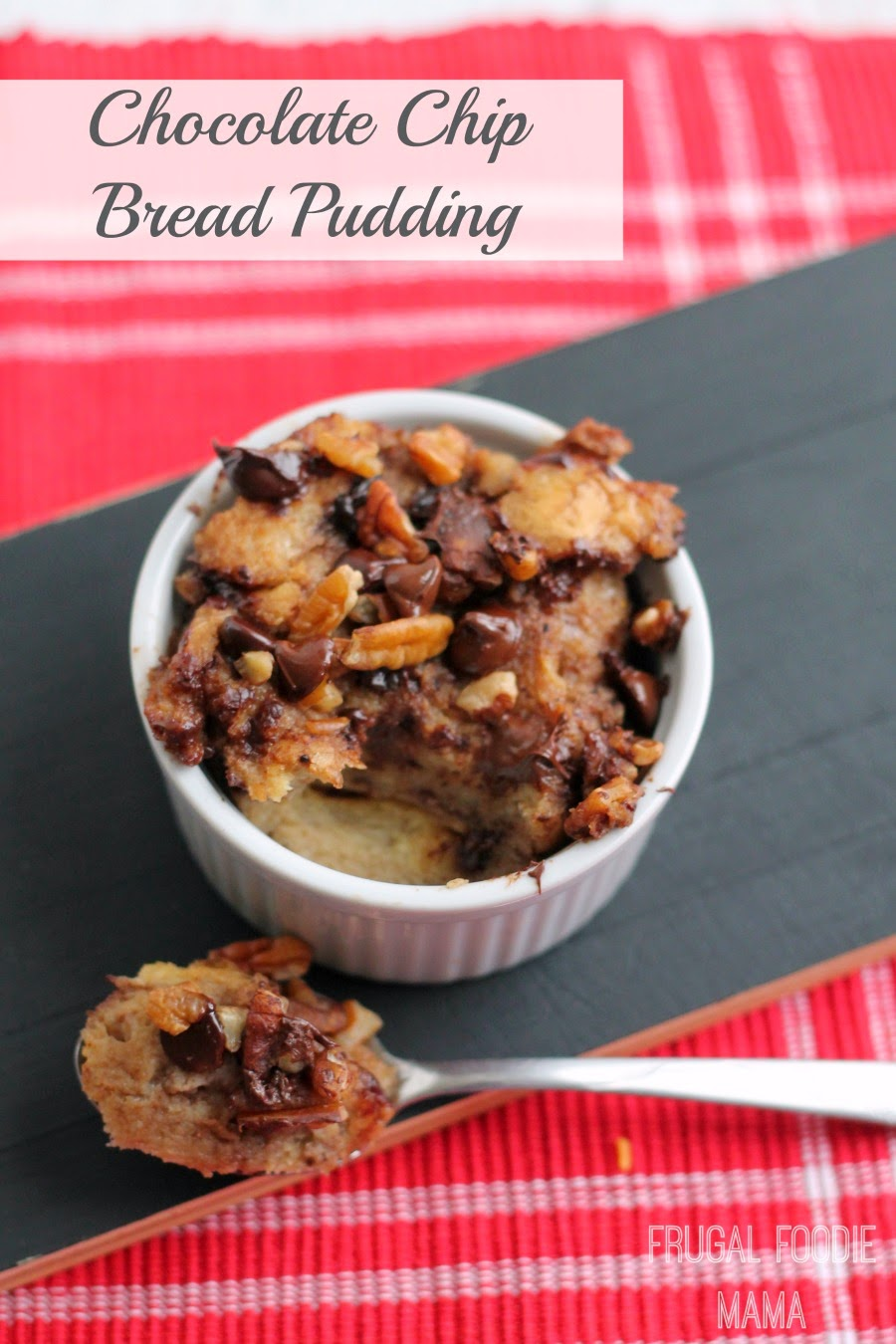 This velvety and creamy slow cooker-baked Chocolate Chip Bread Pudding is a lightened-up version of a traditionally decadent dessert