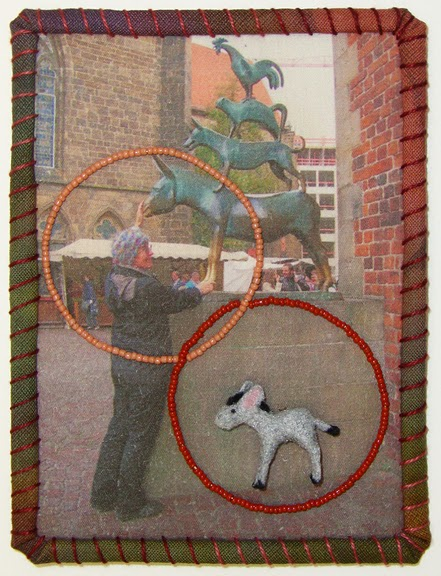 Robin Atkins, Travel Diary Quilt, detail, Four Musicians of Bremen, Germany