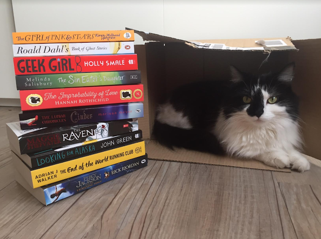 a haul consisting of 10 books and a cat