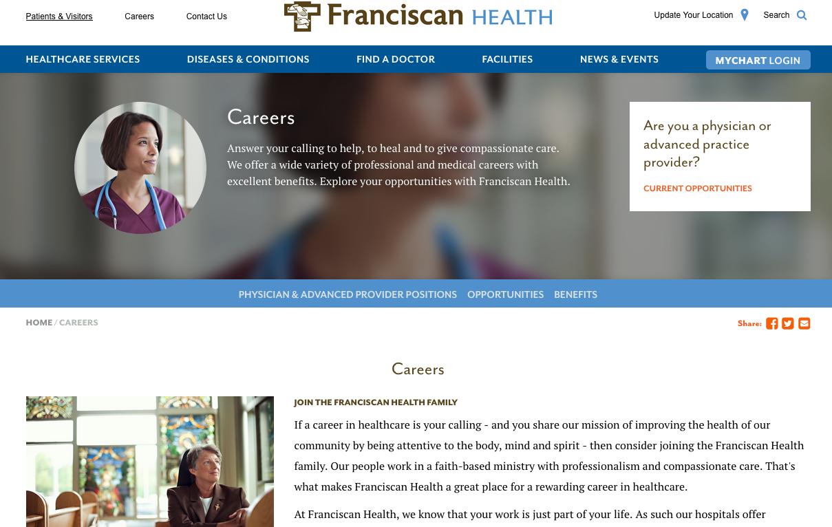 Screen shot of Franciscian Health Careers Page