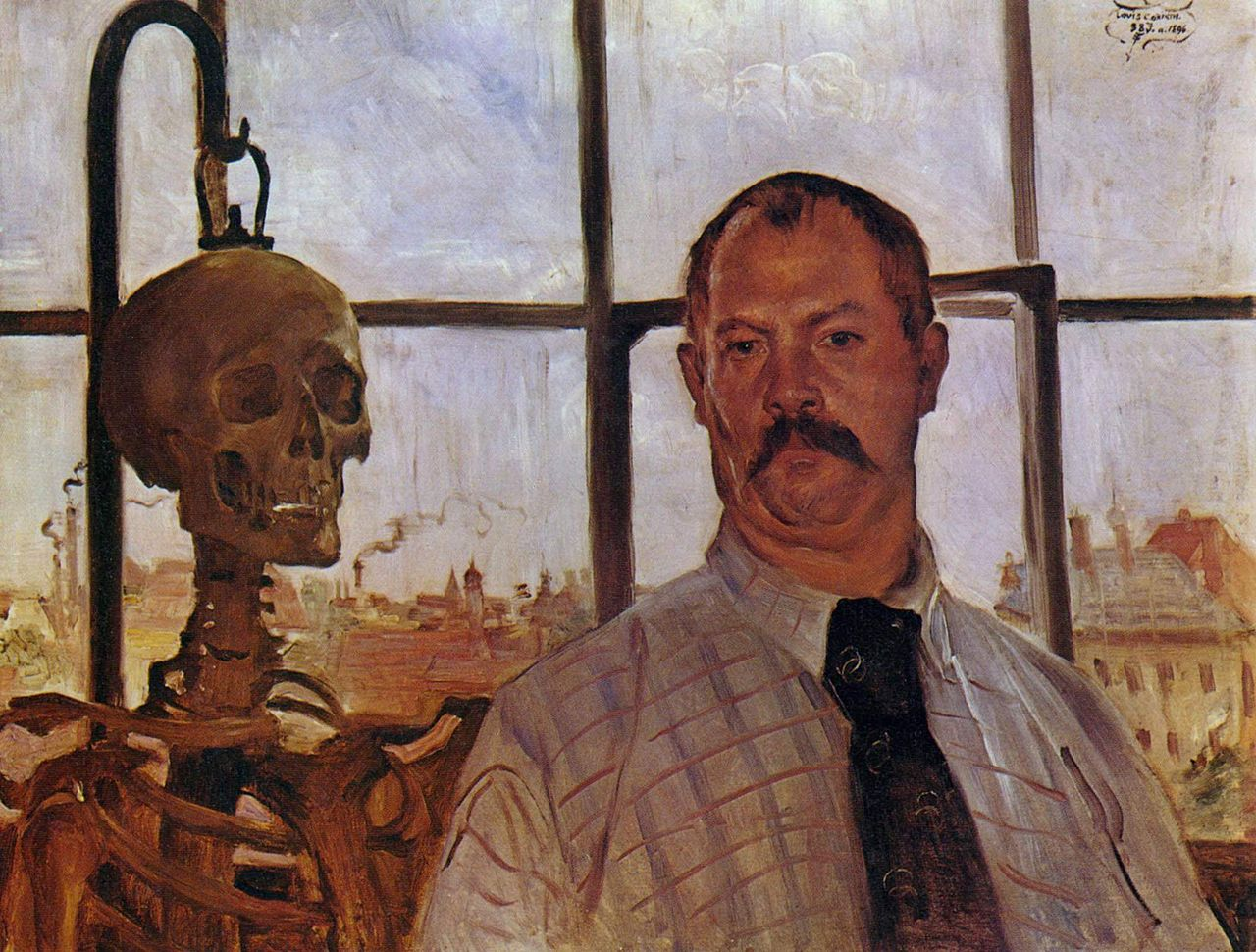 Lovis Corinth, Self Portrait with Skeleton (1896)