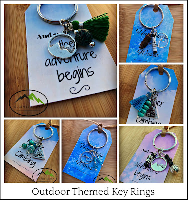 handmade, Key Ring, Key chain, charms, beads, jewelry, climber gift, hiker gift