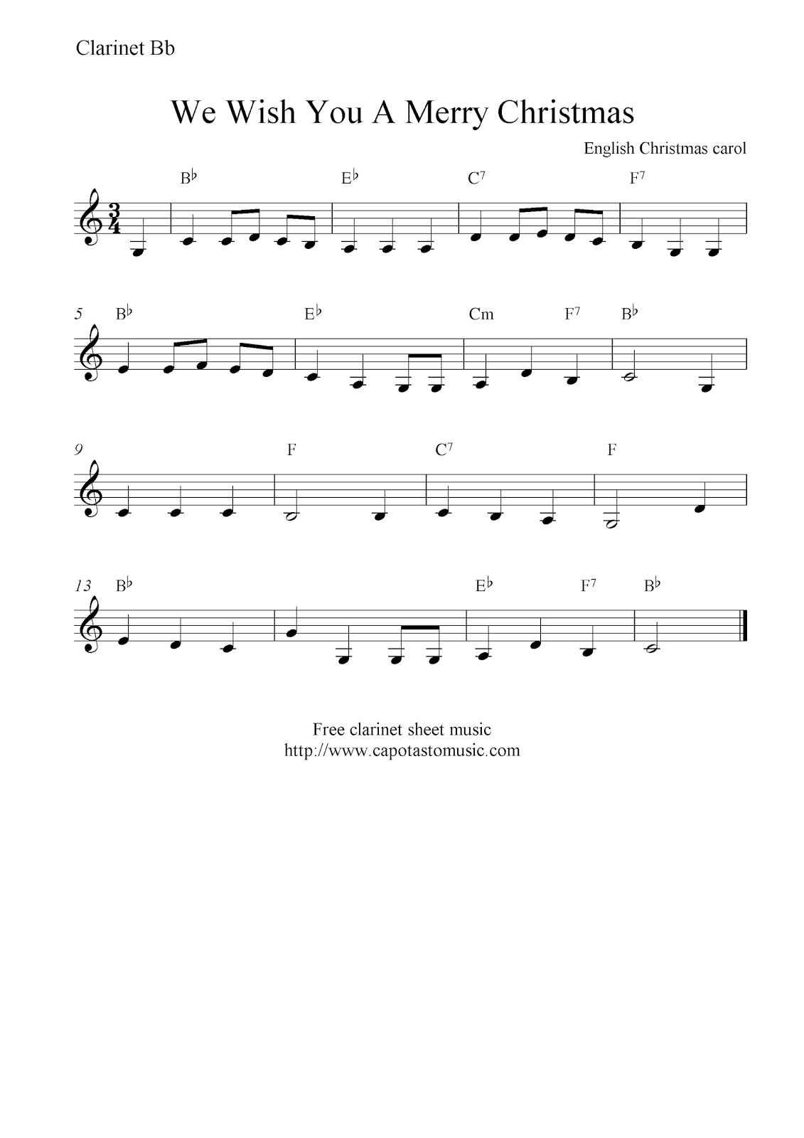 Wish You Merry Christmas Piano Notes.We Wish You A Merry Christmas Free Christmas Clarinet Sheet