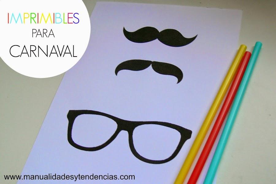 Imprimibles gratis para Carnaval: gafas y bigotes