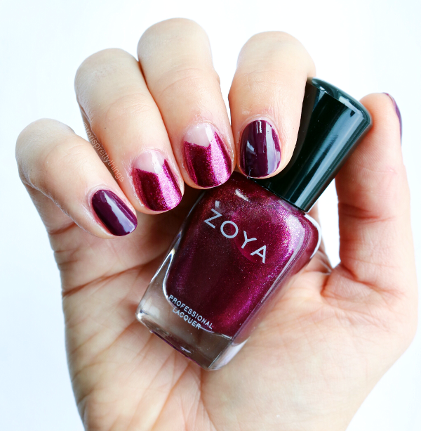 Negative Space Fall Burgundy Manicure - Zoya Britta - Tori's Pretty Things Blog