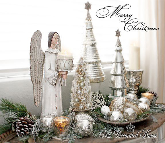 The Decorated House - White Christmas Angel with Mercury Glass